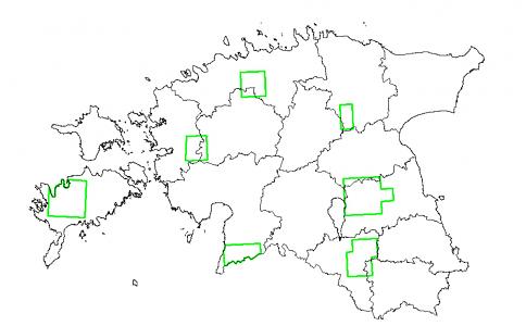 Must-toonekure ja väike-konnakotka seirealade paiknemine Eestis
